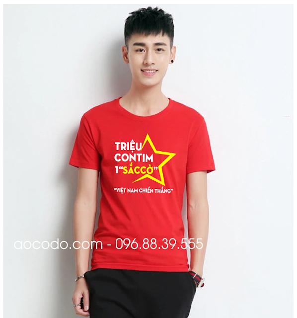 Áo phông cờ đỏ sao vàng cách điệu cho bạn trai