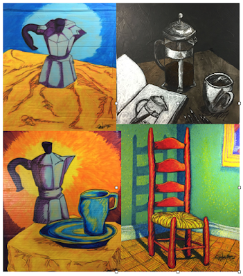 """L-R, U-L: """"Coffee Pot"""", """"Morning Routine"""", """"Breakfast"""", """"The Red Chair"""""""