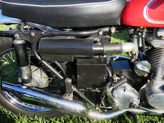 Side of motorcycle showing the larger air cleaner.