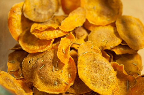 Things wot I Made Then Ate: sweet potato crisps with rosemary