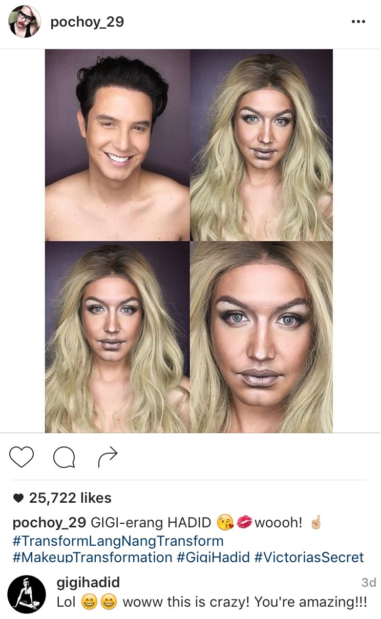 Fashion Pulis Insta Scoop Gigi Hadid Commends Paolo Ballesteros Makeup Transformation Of Her