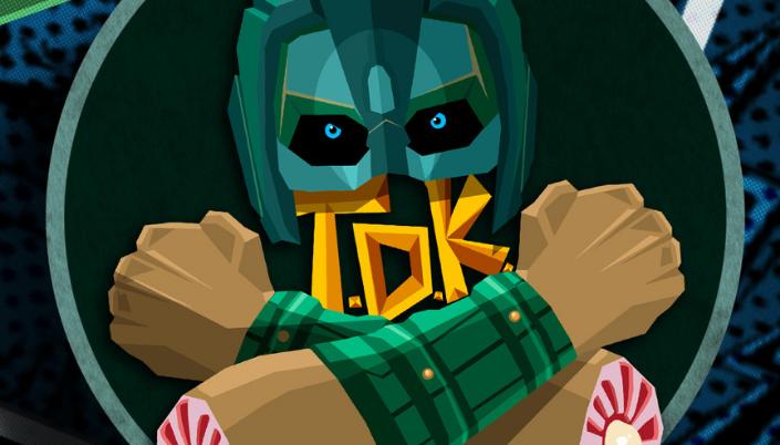 Imagem: fundo pontilhado em tons de verde escuro e uma ilustração do personagem T.D.K. um homem com um capacete verde que cobre os seus olhos e um par de braços cruzados e arrancados.