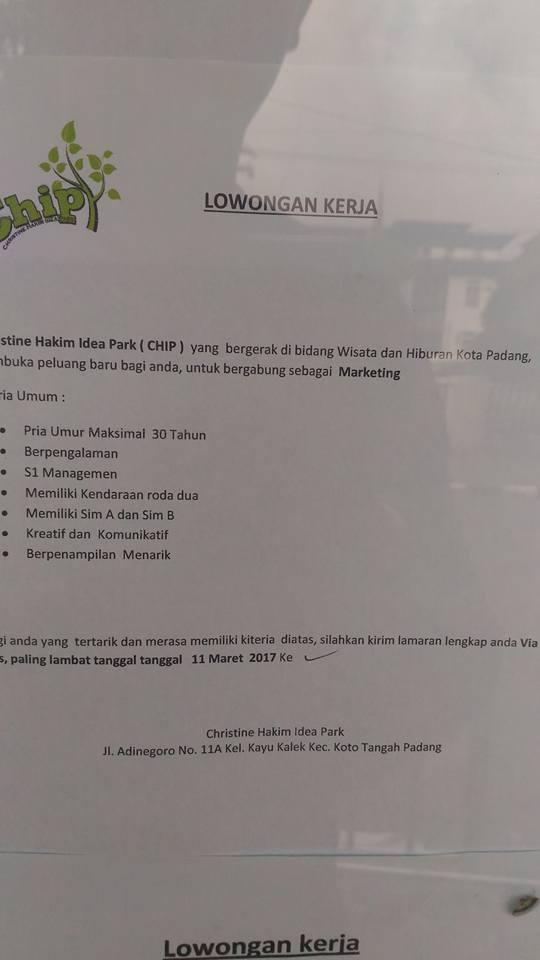 Lowongan Kerja di Padang – Christine Hakim Idea Park (Maret 2017)