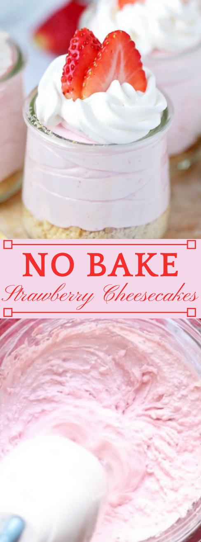 NO-BAKE STRAWBERRY CHEESECAKES #cheesecakes #dessert #cakes #pie #cookie