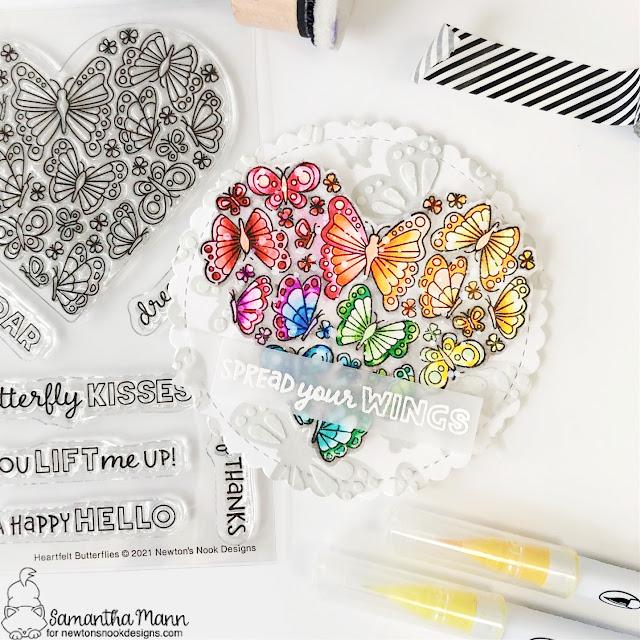 Spread Your Wings Circle Card by Samantha Mann | Heartfelt Butterflies Stamp Set, Banner Trio Die Set and Butterflies Stencil Set by Newton's Nook Designs #newtonsnook