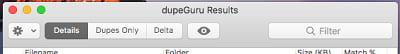DupeGuru tabs options