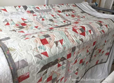 'Jitterbug' Jelly Roll quilt pattern made by Cath,  quilted by Frances Meredith, Fabadashery Longarm Quilting