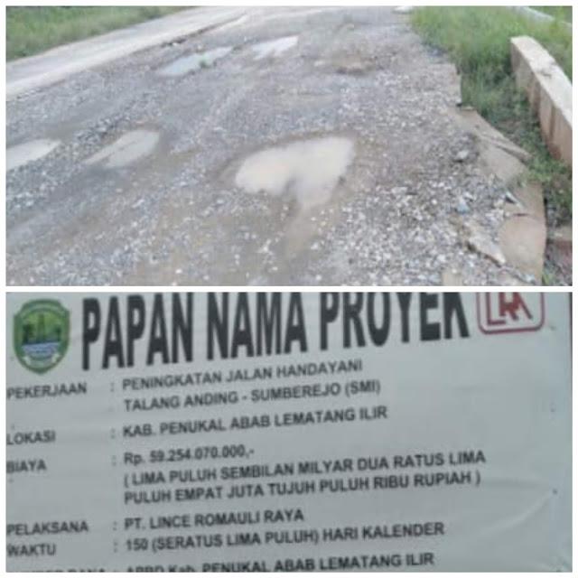 Pembangunan insfrastruktur Jalan di PALI Diduga di kerjakan Asal Jadi