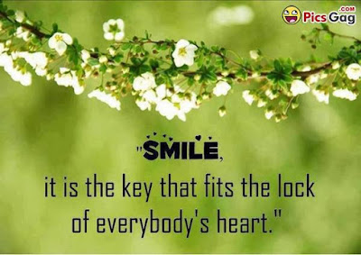 Quotes On Smile: smile, it is the key that fits the lock of everybody's heart.