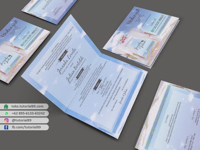 Undangan pernikahan 89.S187 - Seimpel Lipat 2 +stiker label undangan