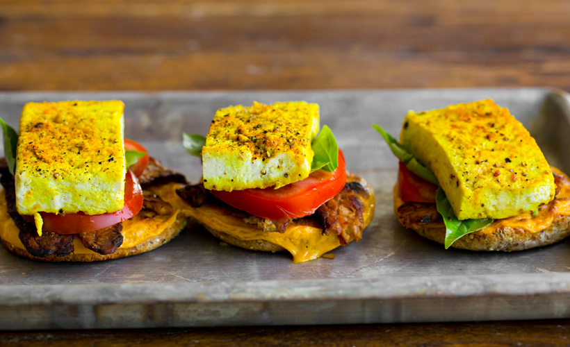 Vegan Breakfast Sandwiches With Eggy Tofu And All The Goodies