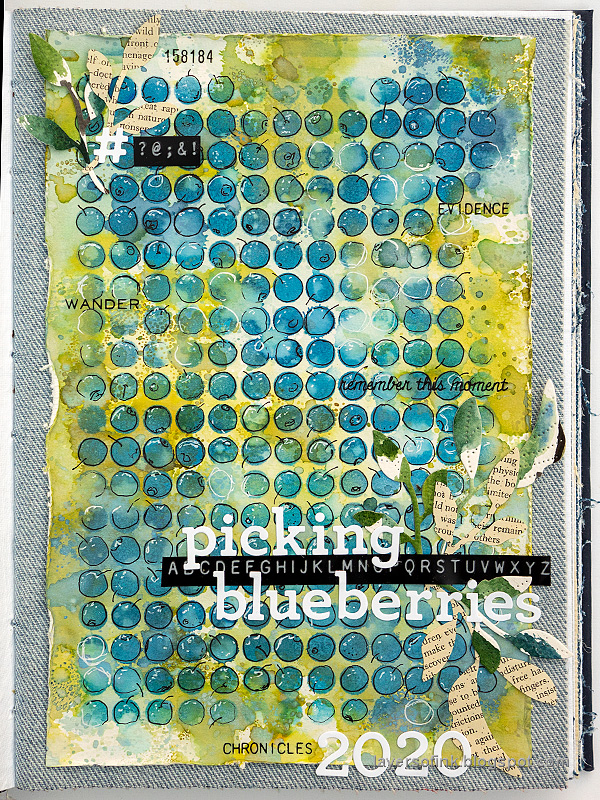 Layers of ink - Blueberries with stencil, pen and ink tutorial by Anna-Karin Evaldsson.
