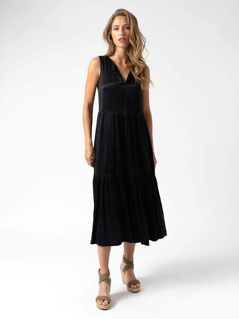 saint and Sofia women's black maxi summer dress cupro