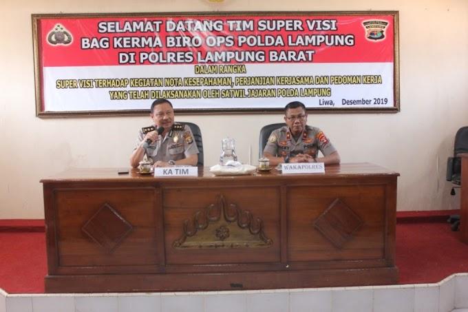 Tim Supervisi Biro Ops Polda Lampung Kunjungan Kerja Ke Polres Lampung Barat
