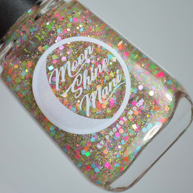 neon glitter nail polish topper in a bottle