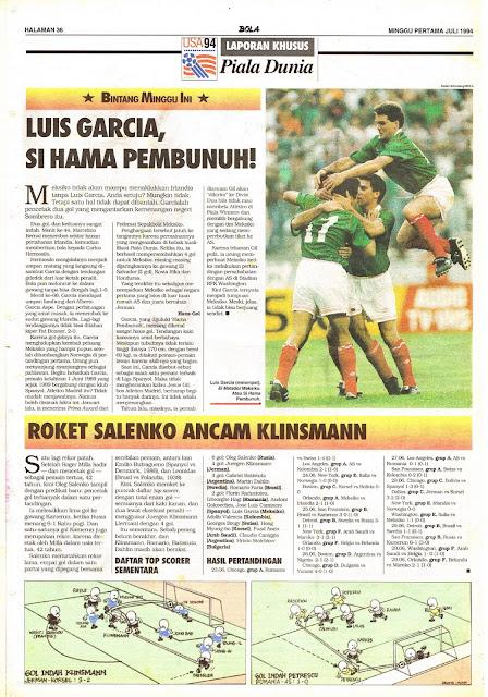 LAPORAN KHUSUS Piala Dunia USA 94:  BINTANG MINGGU INI LUIS GARCIA