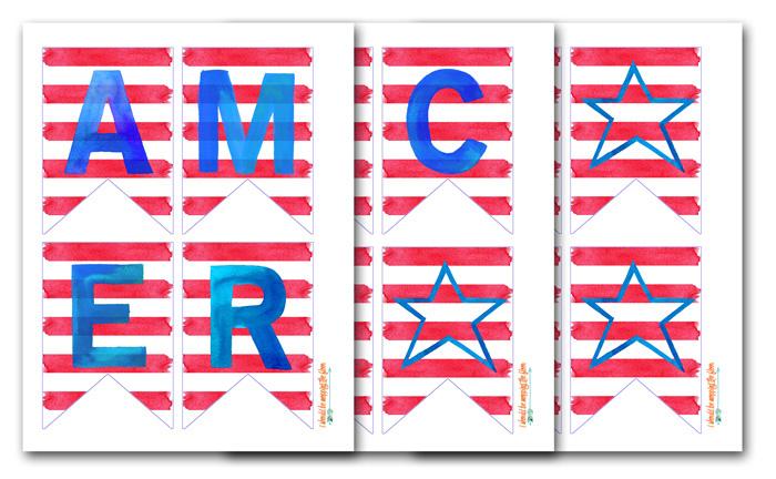Watercolor Patriotic Banner