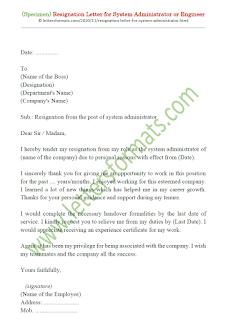 resignation letter format for system administrator