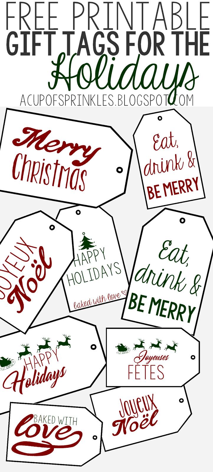 Free Printable Holiday Gift Tags for Baked Goodies