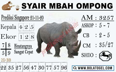 Syair Mbah Ompong SGP Sabtu 21 November 2020