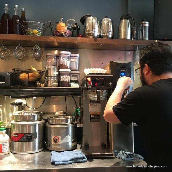 barista at Guerilla Cafe in Berkeley, California