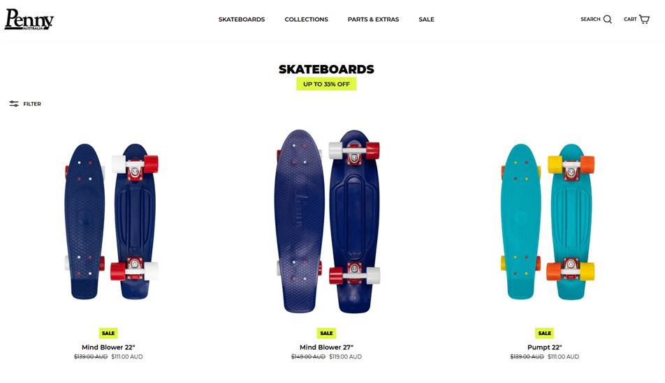 オーストラリアの人気スケートボードブランド「Penny(ペニー)」の商品ページ画像写真