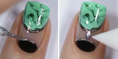 esmalte de glitter prata nas unhas verdes