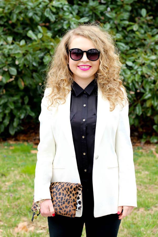 White Blazer, Clare V Leopard Clutch