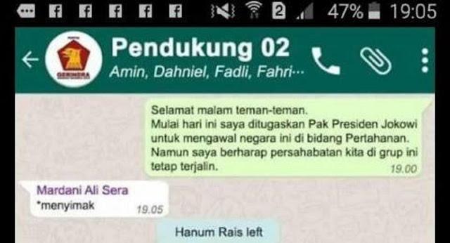 Prabowo Masuk Kabinet Jokowi, Viral Foto Pendukung 02 Keluar Grup WA