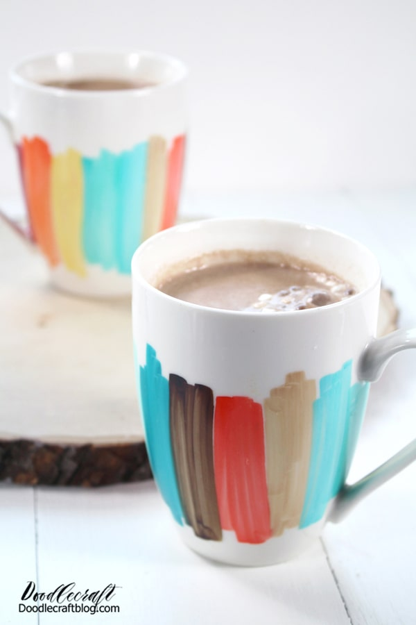 Fill with piping hot chocolate and mini marshmallows or your favorite hot drink and enjoy! Great for coffee breaks at the office, a matching set for the newlyweds or just to brighten up some old mugs that are already sitting in the cupboard.   I love a great upcycled project--take a moment to look around and see what you can improve on with some bright color blocking.
