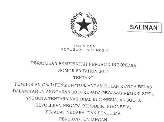 PP 53 2014 Gaji/Tunjangan ke 13 2014