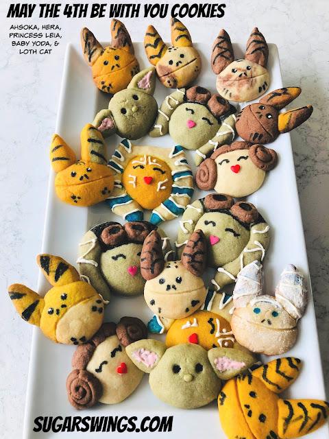 Ahsoka Tano cookies, Hera Syndulla cookies, Princess Leia cookies, Baby Yoda cookies Loth-cat Cookies