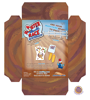 Final package back of Rooster Race game by Roosterfin Games designed and illustrated by Imagine That! Design