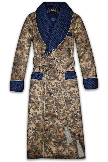 mens gold silk dressing gown paisley quilted smoking jacket robe