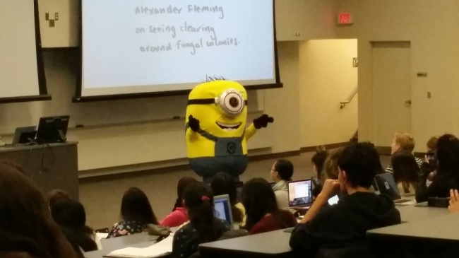 16 Inspiring Photos Prove That Teachers Can Have A Great Sense Of Humor - Our professor was a minion for fifty minutes.