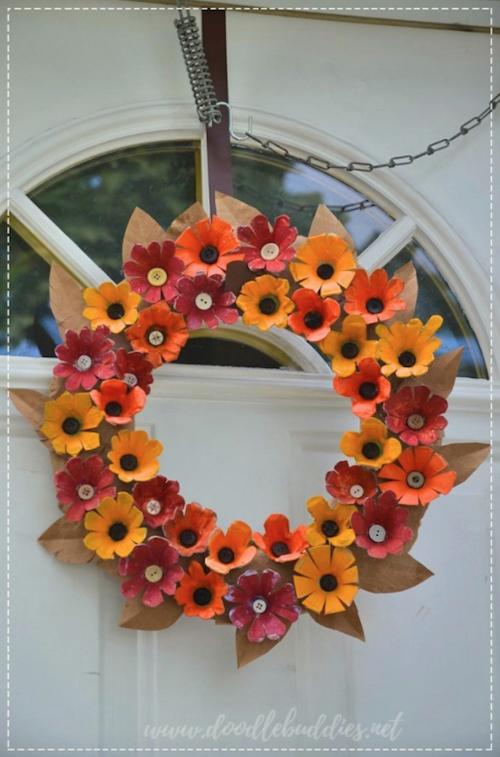 DIY Egg Tray Flower Wreath