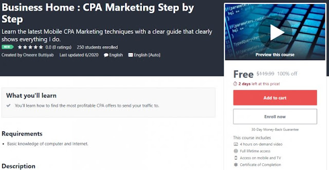 [100% Off] Business Home : CPA Marketing Step by Step  Worth 119,99$