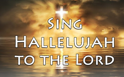 Sing alleluia phrase superimposed on an illuminated cross being lifted up from the waters and reflecting God's glory - Lift up up your hearts unto the Lord