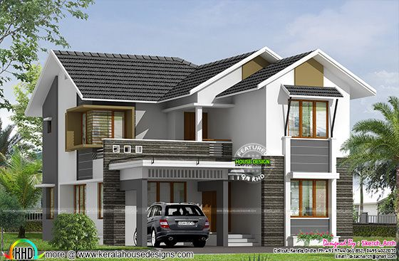 Sloping Roof Double Storied Home 2800 Sq Ft Kerala Home