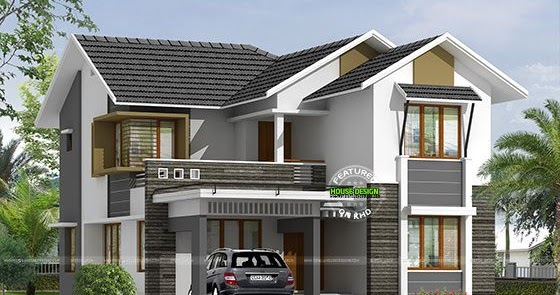 Sloping Roof Double Storied Home 2800 Sq-ft