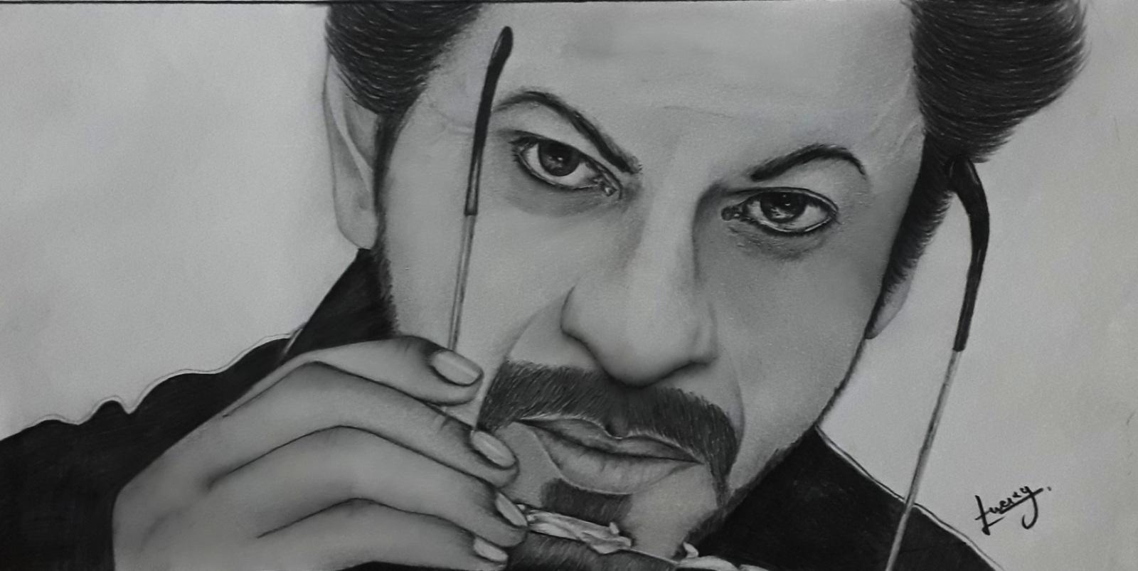 Shahrukh khan pencil sketch art raees movie srk pencil