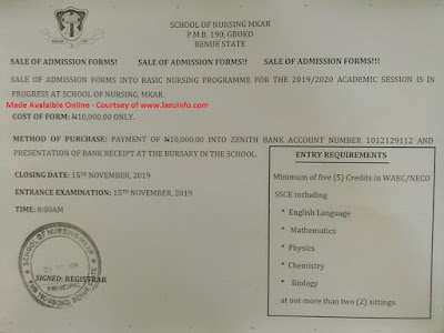 School of Nursing Mkar Admission Form 2019/2020 [Basic Nursing]