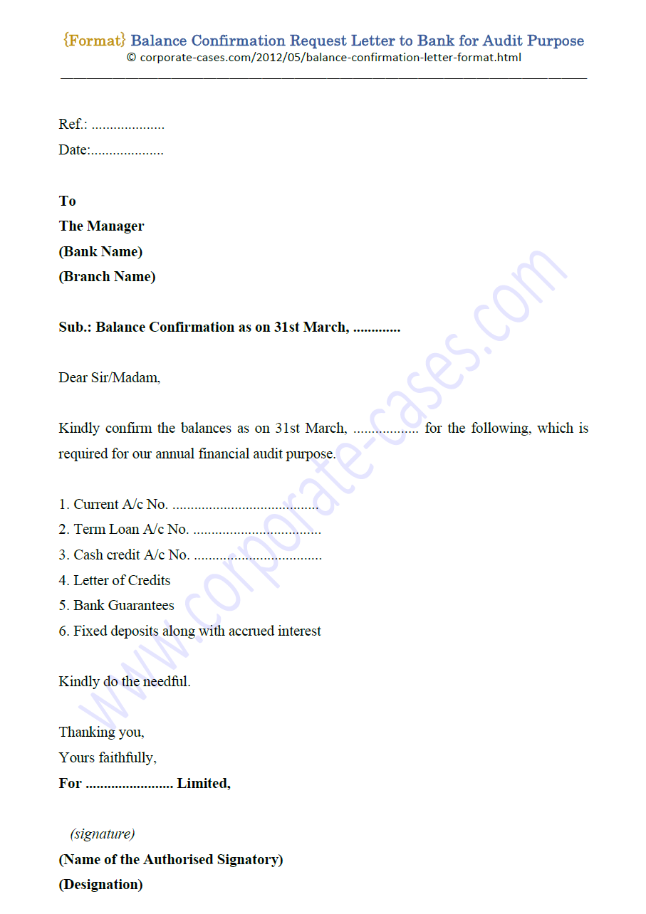 Request letter for bank account confirmation