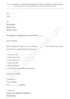 bank balance confirmation letter format for auditors