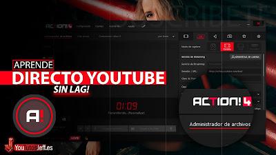 hacer directo en youtube con action