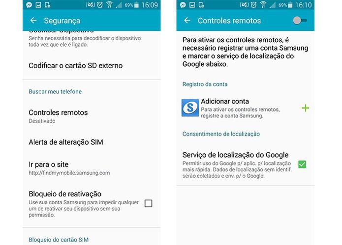 Recurso de segurança que permite bloquear seu aparelho Galaxy por acesso remoto