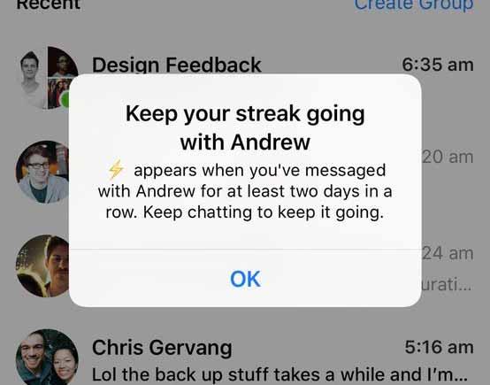 فايسبوك تختبر ميزة Streak على مسنجر المنسوخة من سناب شات
