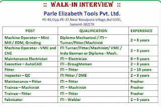 Parle Elizabeth Tools Pvt Ltd Recruitment ITI Fitter/ Electrician/ Machinist/ Turner/ Welder/ Draughtsman and Diploma Mechanical Holders