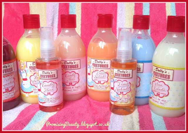 Dollys mixtures bath cream and shower gels original flavours. Candy floss, bubblegum, pina colada, lemon bon bon, red velvet cupcake and fruit salad. Discontinued scents from Asda beauty.
