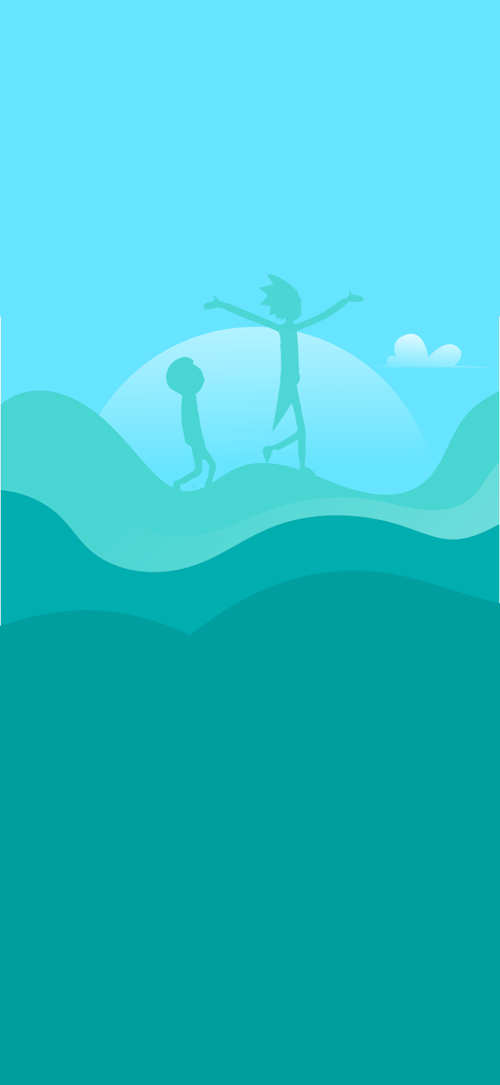 Rick and morty clean wallpaper silhouette light color green and blue